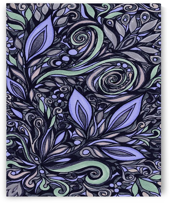 Gorgeous Flowers And Leaves Watercolor Pattern Tiffany Stained Glass Mosaic Decor X by Irina Sztukowski