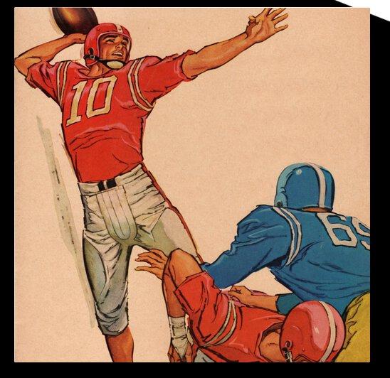 1959 Vintage Football Quarterback Art by Row One Brand