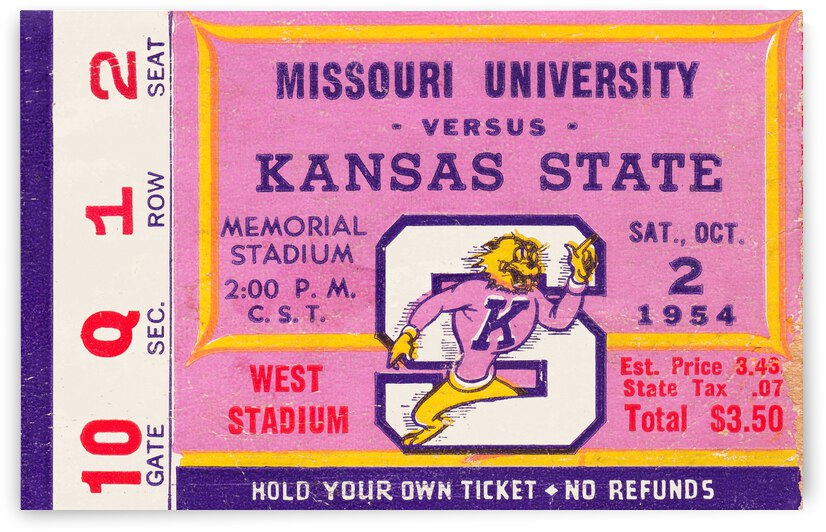 1954 Missouri Tigers vs. Kansas State Wildcats Ticket Stub Art by Row One Brand