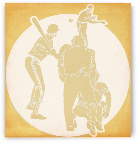 Retro Baseball Pitcher and Batter Art by Row One Brand