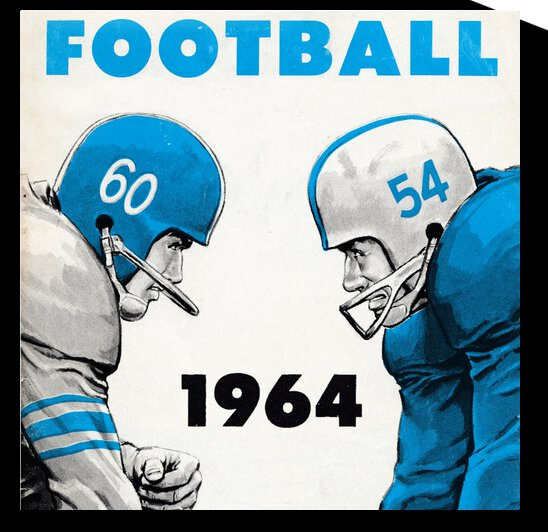 1964 Linemen Football Art by Row One Brand