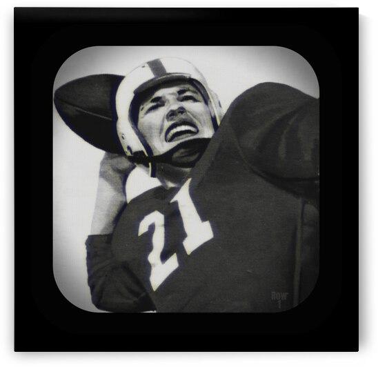 1954 Vintage Television Set Football Quarterback Art by Row One Brand