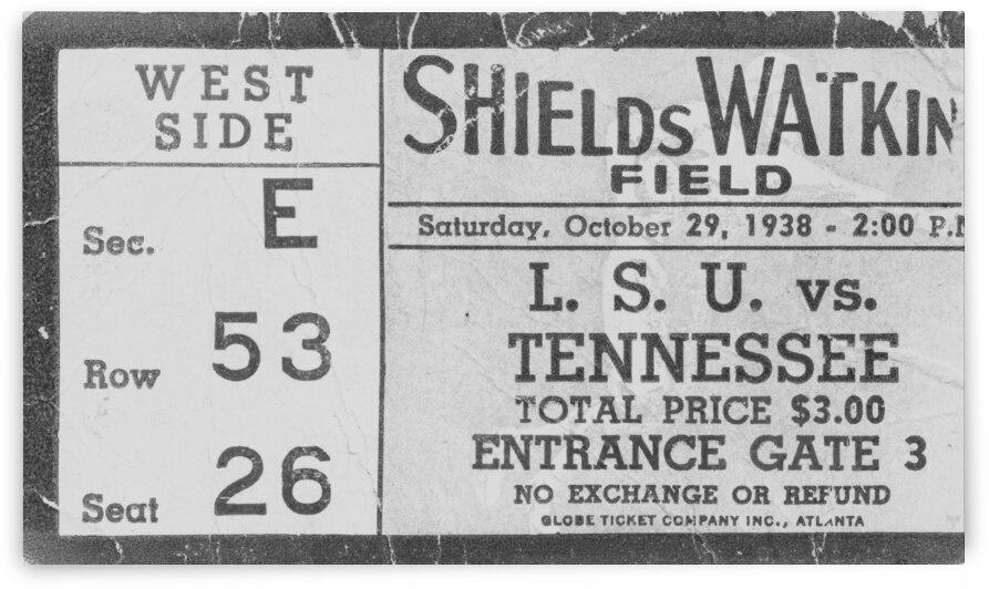 1938 Tennessee Vols Football Ticket Stub Remix Art by Row One Brand