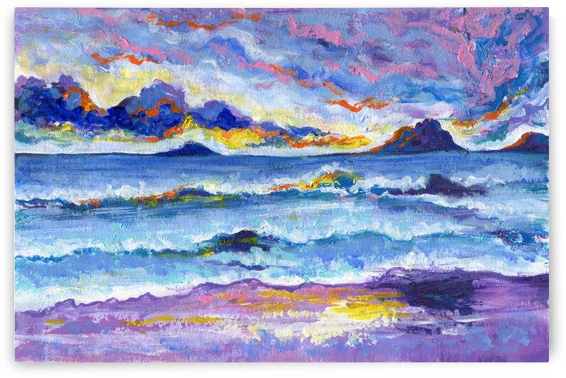 Abstract purple seascape by Anna Ponomarenko