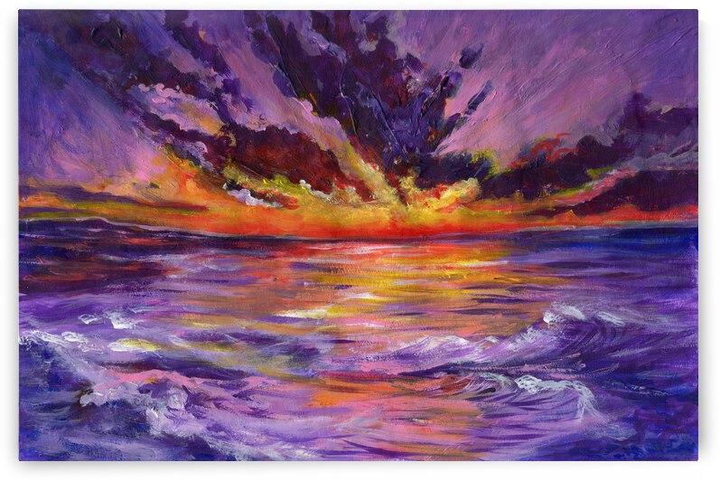 Purple cloudy seascape by Anna Ponomarenko
