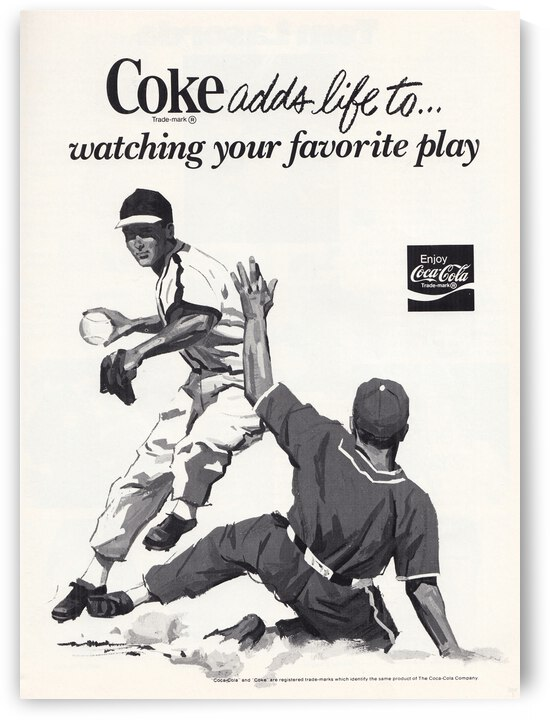 1977 Coke Advertisement Baseball Art by Row One Brand