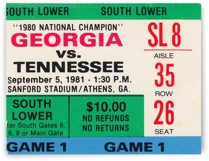 1981 Georgia vs. Tennessee Football Ticket Stub Art by Row One Brand