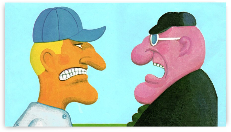 1966 Baseball Manager Umpire Argument Art by Row One Brand