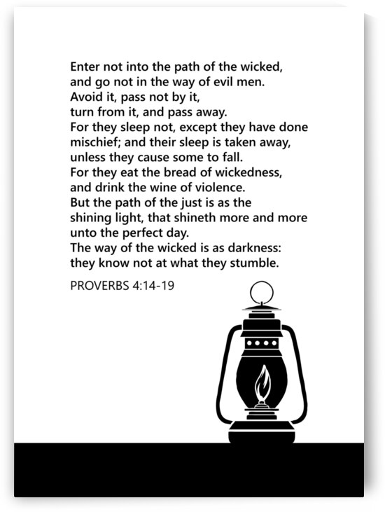 Proverbs 4 14 19 white by ABConcepts
