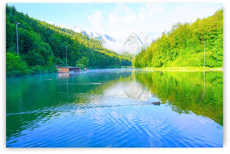One Fine Morning on the Misty Riessersee in the Bavarian Alps near Garmisch Partenkirchen Germany by 24