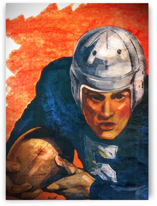 1946 Orange and Blue Vintage Football Player Art by Row One Brand