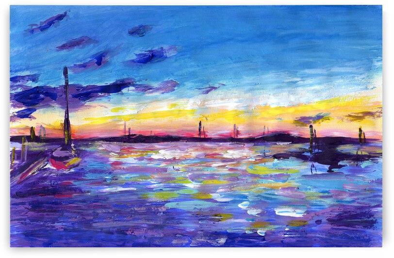 Sanibel Island purple sunset seaacape by Anna Ponomarenko