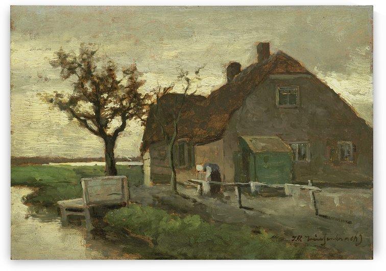 Boerenhuis aan een vaart by Jan Weissenbruch