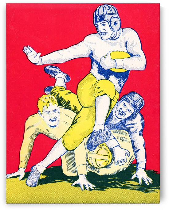 1934 Vintage Football Stiff Arm Art  by Row One Brand