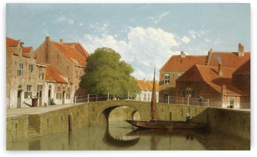 Along the canal in a Dutch town by Jan Weissenbruch