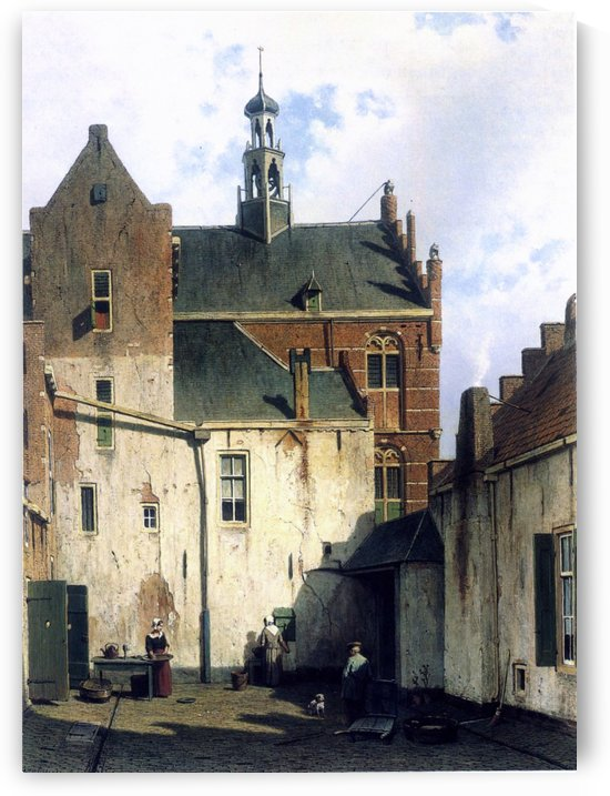 Culemborg, view at the westerly facade of the town hall at Wagenweg by Jan Weissenbruch