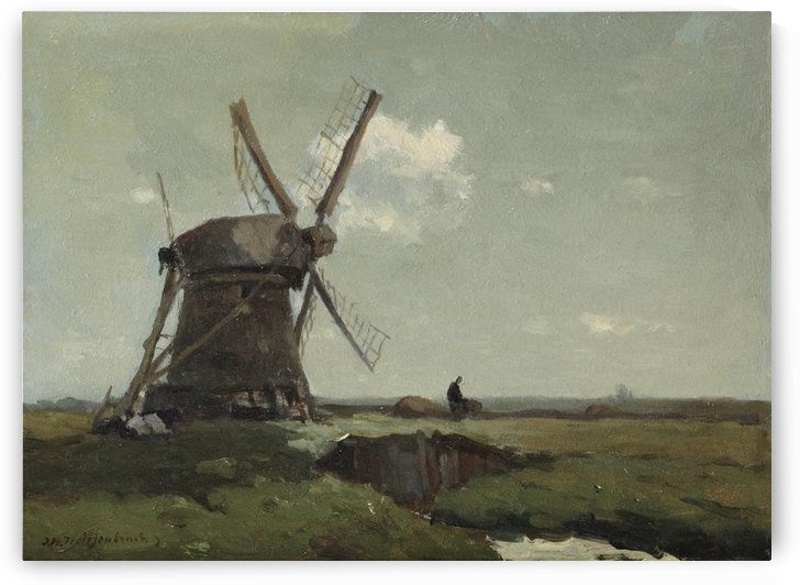 Windmill in a polder landscape, near Noorden by Jan Weissenbruch