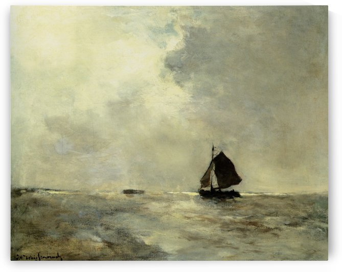 Sailing Boat in Choppy Seas by Jan Weissenbruch