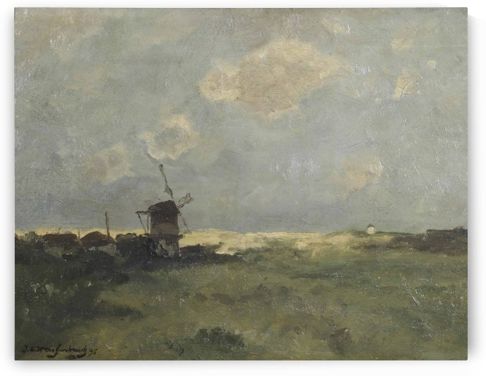 A windmill in the dunes by Jan Weissenbruch