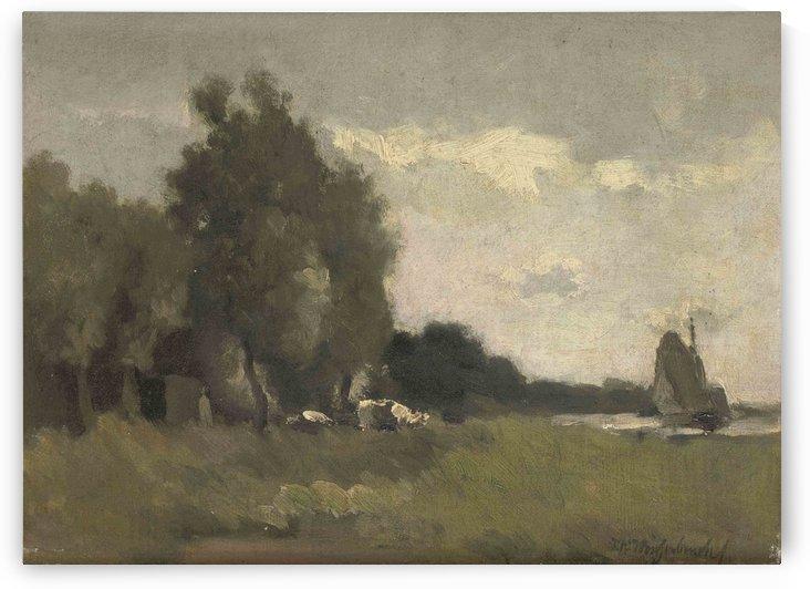 A river landscape by Jan Weissenbruch