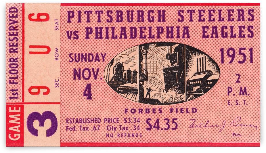 1951 Philadelphia Eagles vs. Pittsburgh Steelers Ticket Stub Art by Row One Brand