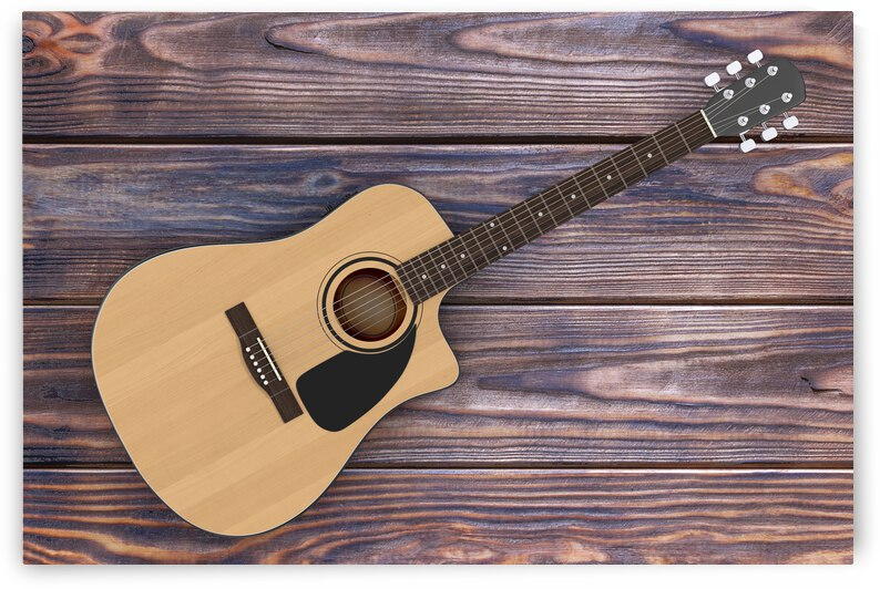 wooden acoustic guitar wooden table 3d rendering by GrapyArt