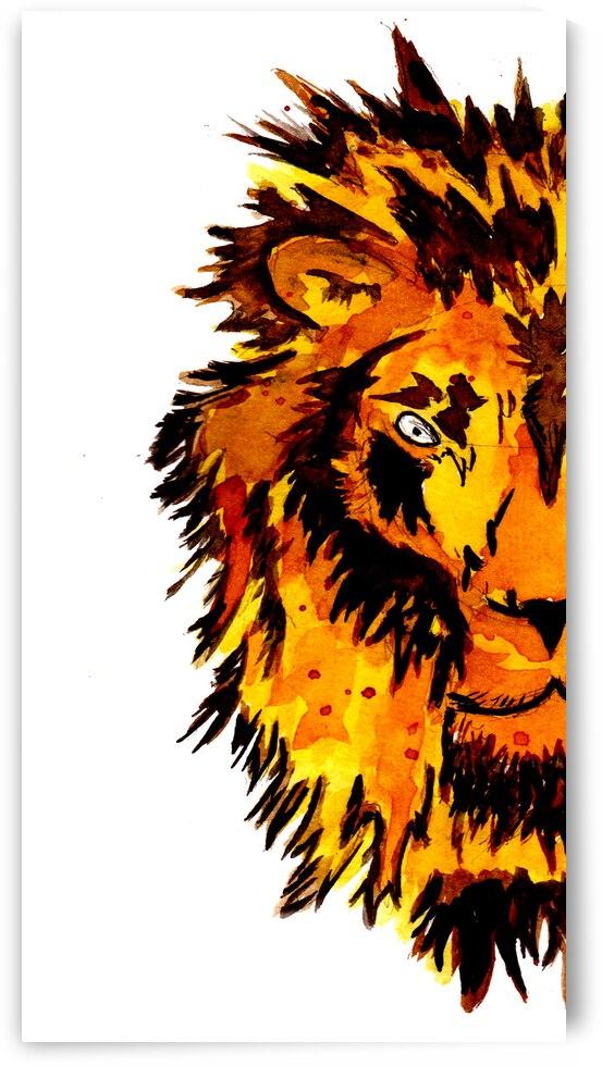 Watercolor Lion Half Face by ZeichenbloQ