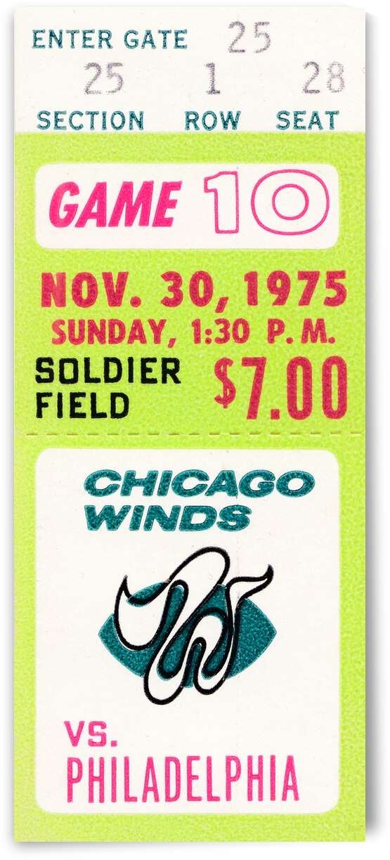 1975 Chicago Winds Football Ticket Stub by Row One Brand