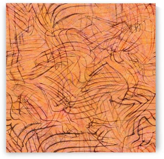 Wispy ink swirls terra cotta orange by CR Leyland