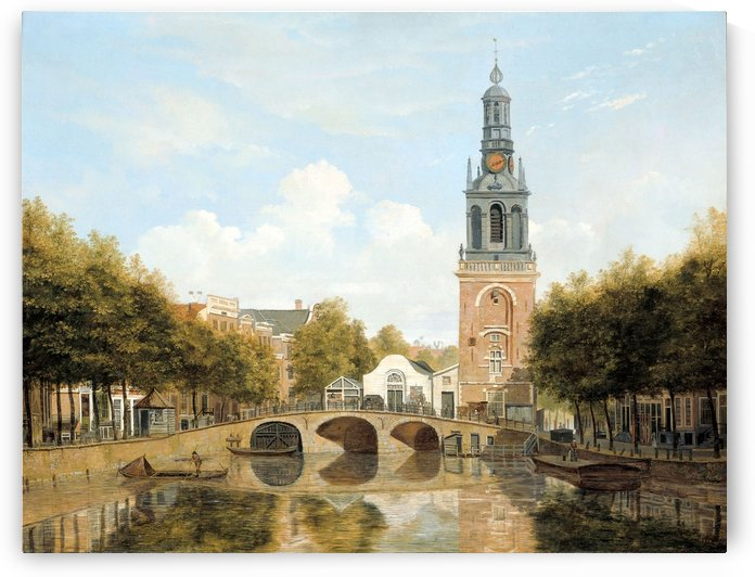 Dutch bridge along a canal by Hendrik Gerrit ten Cate