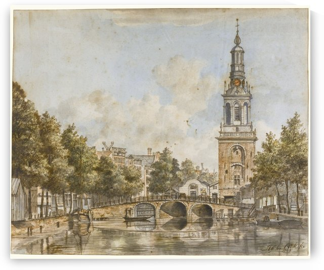 View of the Jan Roodenpoortstoren on the Singel, Amsterdam by Hendrik Gerrit ten Cate