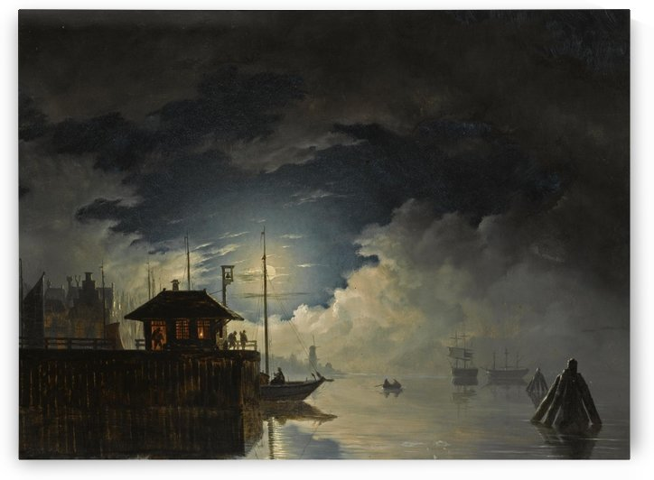A moonlit harbour with a ferry in the foreground by Hendrik Gerrit ten Cate