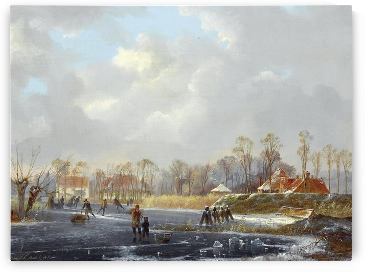 Frozen lake outside Dutch town with skaters by Hendrik Gerrit ten Cate