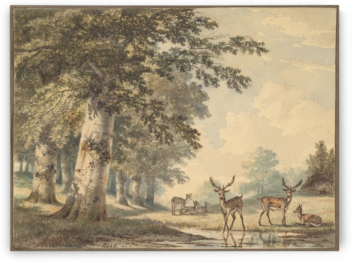 Deer under beech trees in Winter by Hendrik Gerrit ten Cate