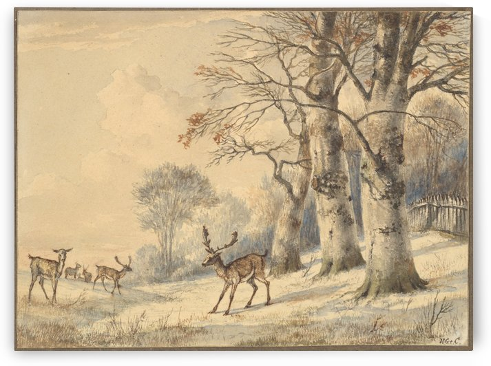 Deer under beech trees in Summer by Hendrik Gerrit ten Cate