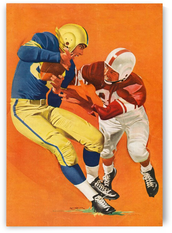 1958 Vintage Football Tackle Art by Row One Brand