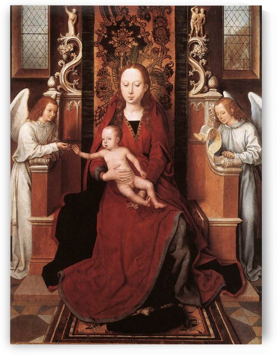 Virgin and Child enthroned with two Angels by Hans Memling