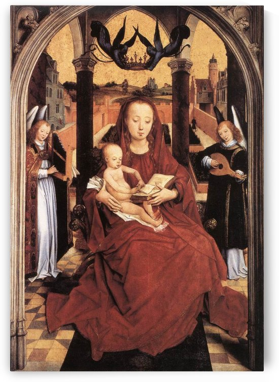 Virgin and Child Enthroned with two Musical Angels by Hans Memling
