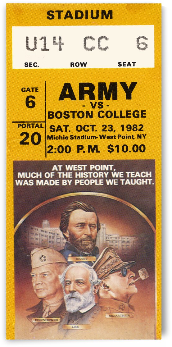 1982 Army vs. Boston College Football Ticket Art by Row One Brand