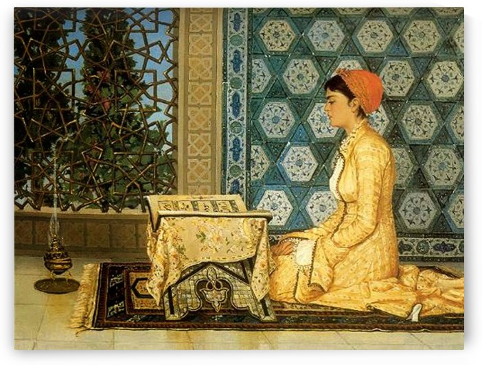 Beautiful oriental woman reading by Osman Hamdi Bey