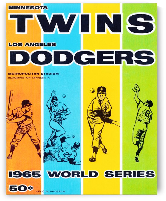 1965 World Series Twins vs. Dodgers Program Cover Art by Row One Brand
