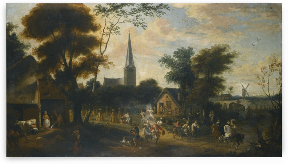 Village life by Abraham van Cuylenborch