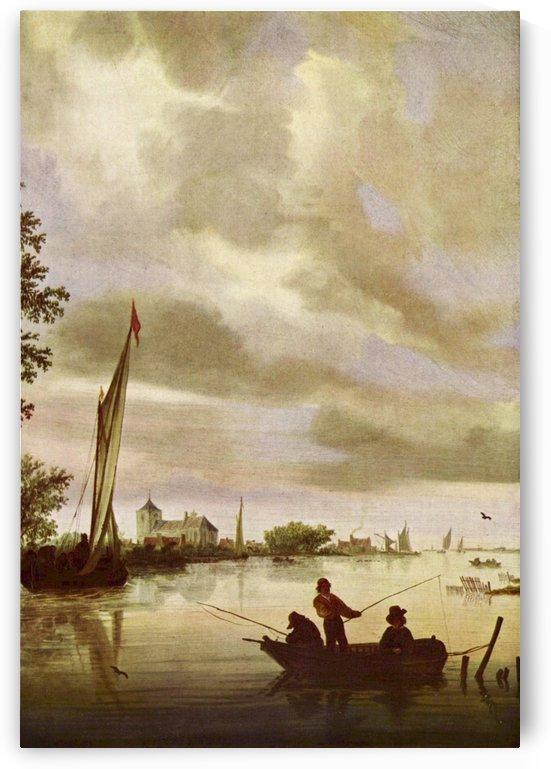 Men fishing by Salomon van Ruysdael