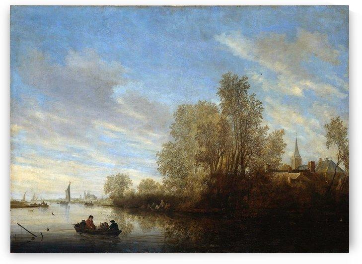 River view Sun by Salomon van Ruysdael