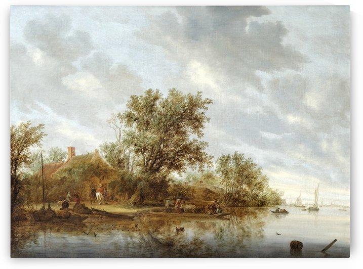River landscape with fishermen by Salomon van Ruysdael