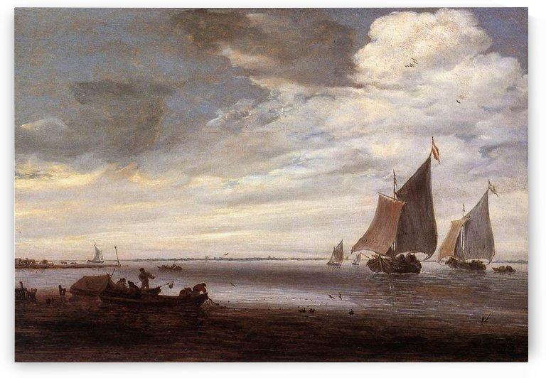 River scene with boats by Salomon van Ruysdael