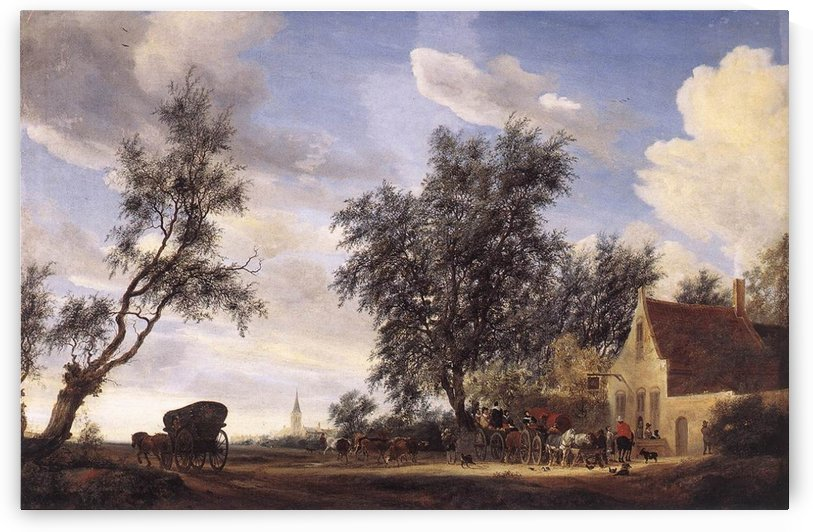People in the village by Salomon van Ruysdael