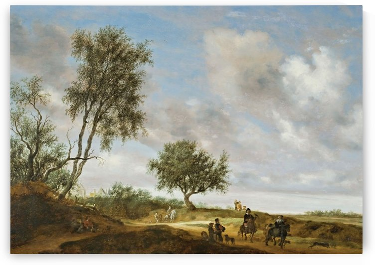 Landscape with a Hunting Party by Salomon van Ruysdael
