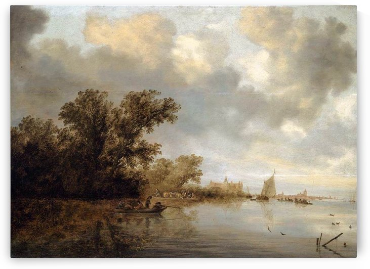 River Landscape on a cloudy day by Salomon van Ruysdael