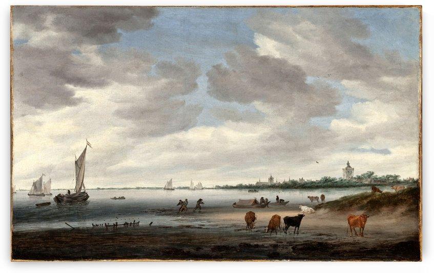 View of the River Lek and Vianen by Salomon van Ruysdael